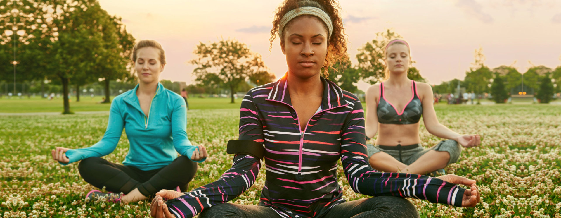 group of woman doing a meditation