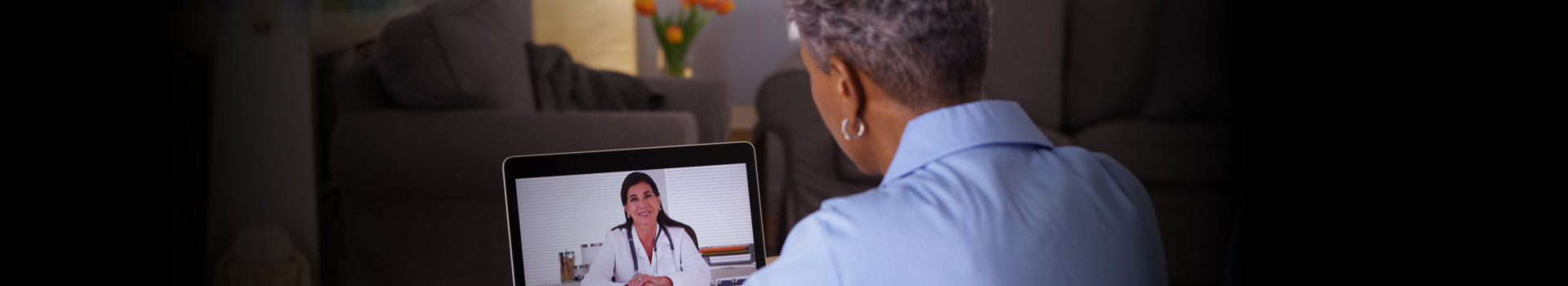 woman talking to a health professional using laptop